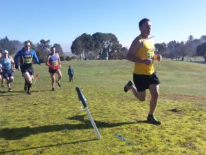 Darren Parlato at 1.5km with Dave Walters in the blue strip of RNZAF on left of shot